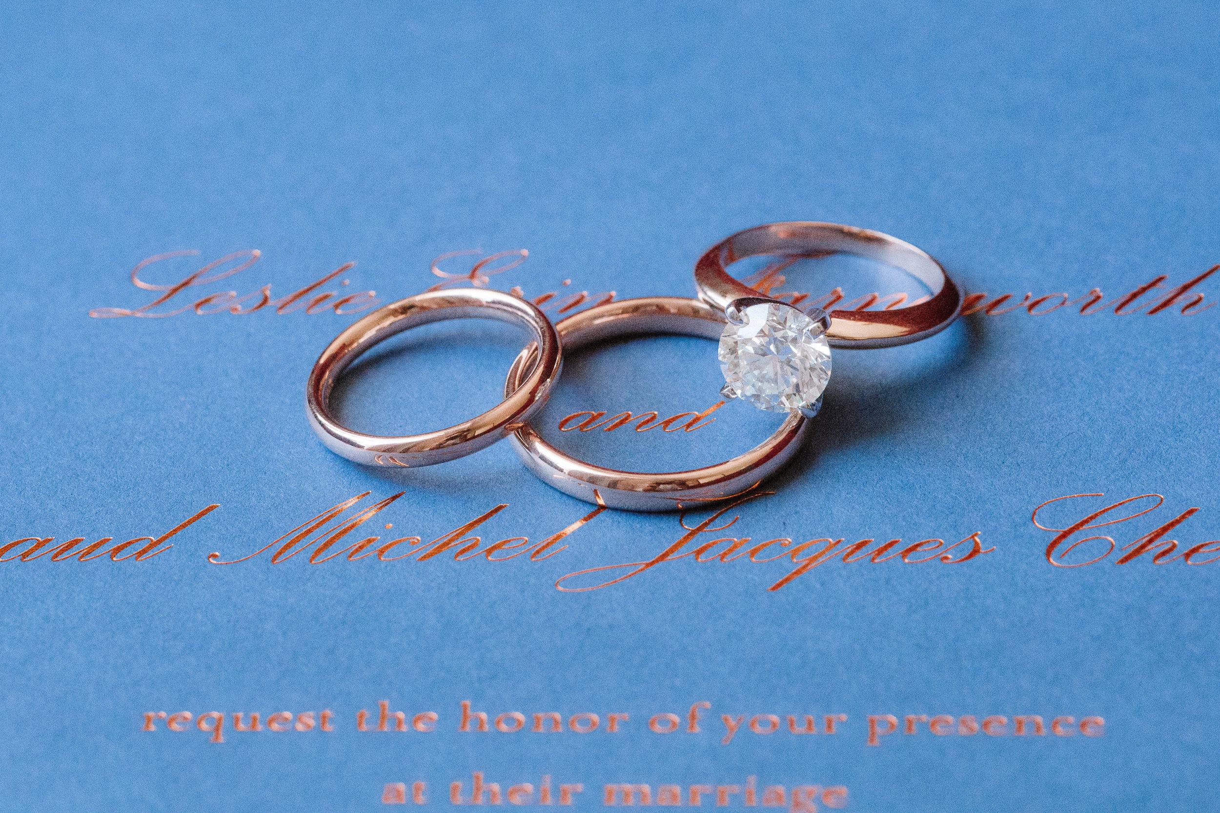 Leslie and Arnaud's wedding rings and invitation. Image credit:  Ian Holmes.