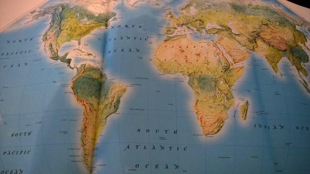 My Smithsonian World Atlas, Sixth Edition, open for contemplation. August 6. 2014.