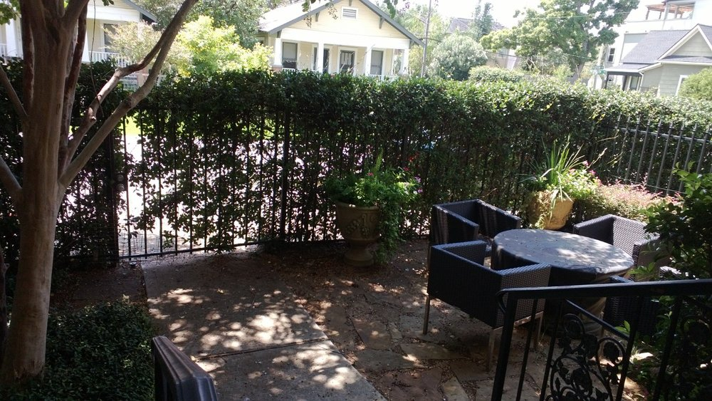 A terrible photo of my front patio, from the front porch. Houston, Texas, August 18, 2013.