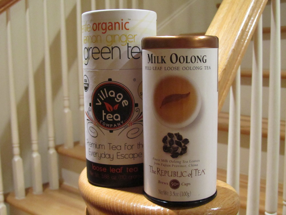 Two of the teas I'm drinking like a fiend this month. (I'm out of the tisane, so it missed the photo opp.) December 2013.