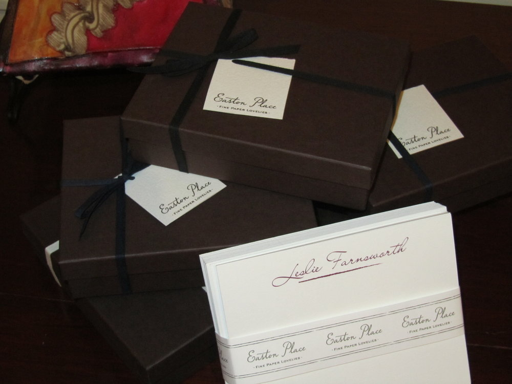 Gorgeous personalized stationery from Easton Place. December 2013.