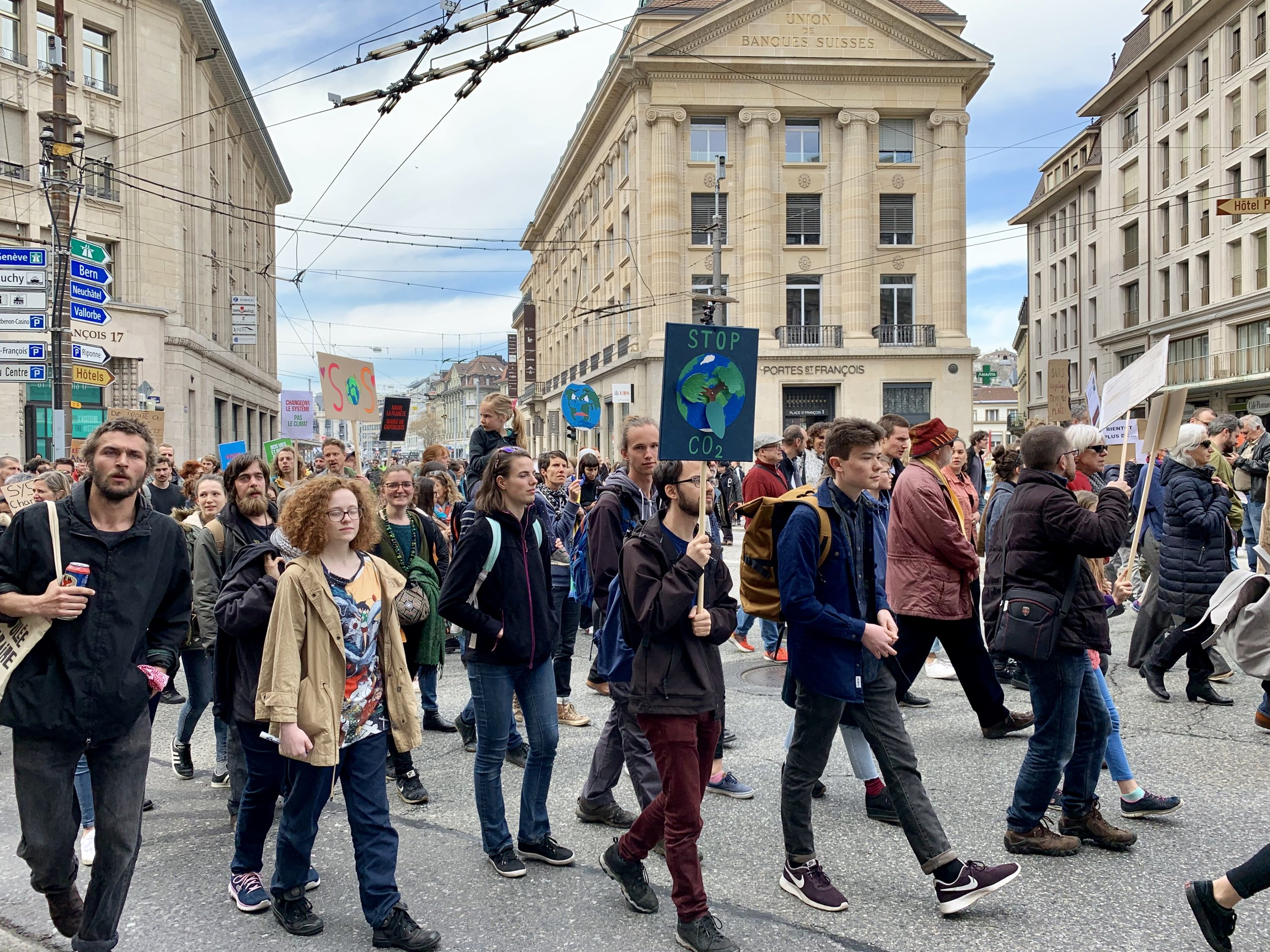 A massive march for the environment. Lausanne, Switzerland, April 6, 2019.