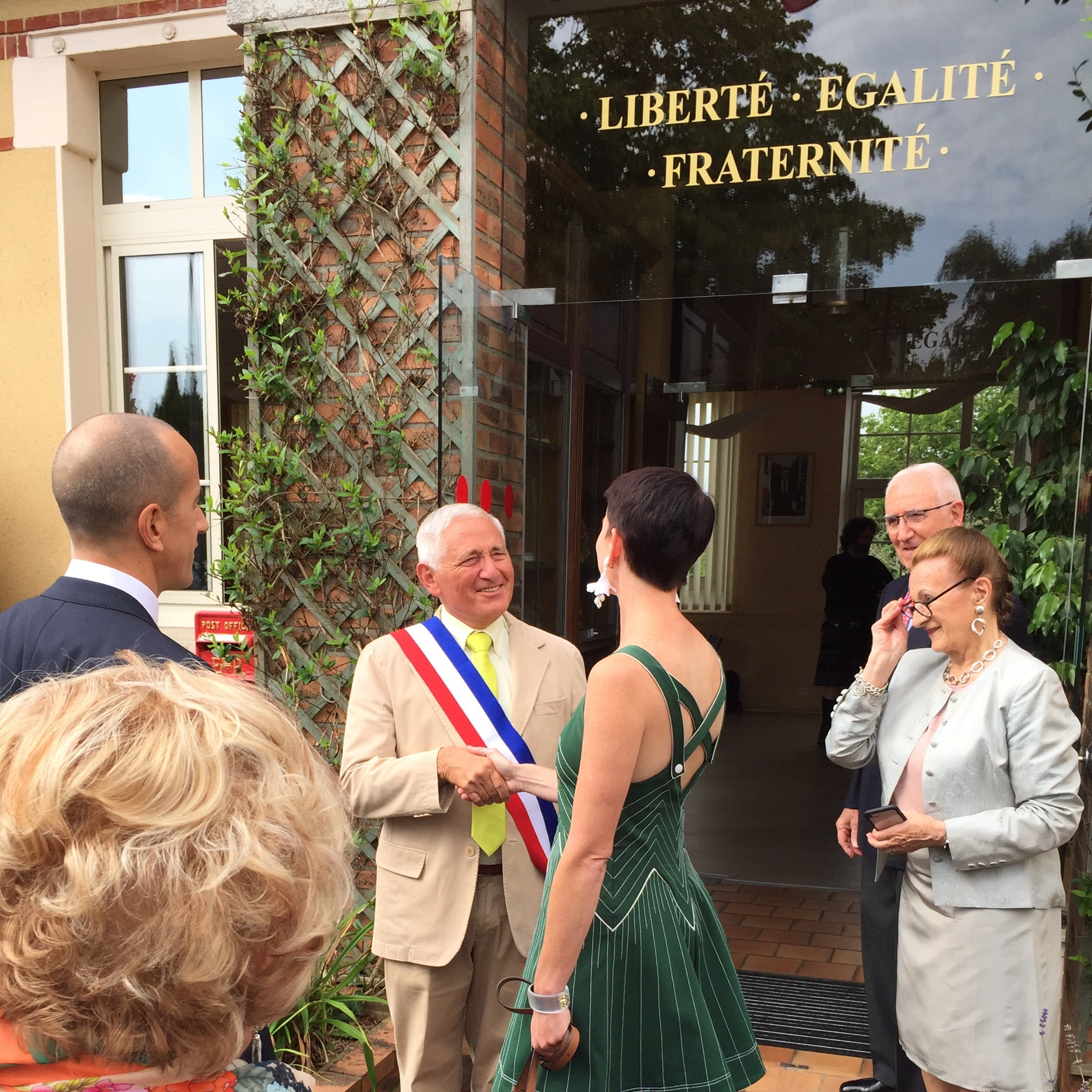 Arriving at the town hall and meeting the mayor on the morning of our French civil wedding. July 24, 2018, Sarge-les-Mans, France.