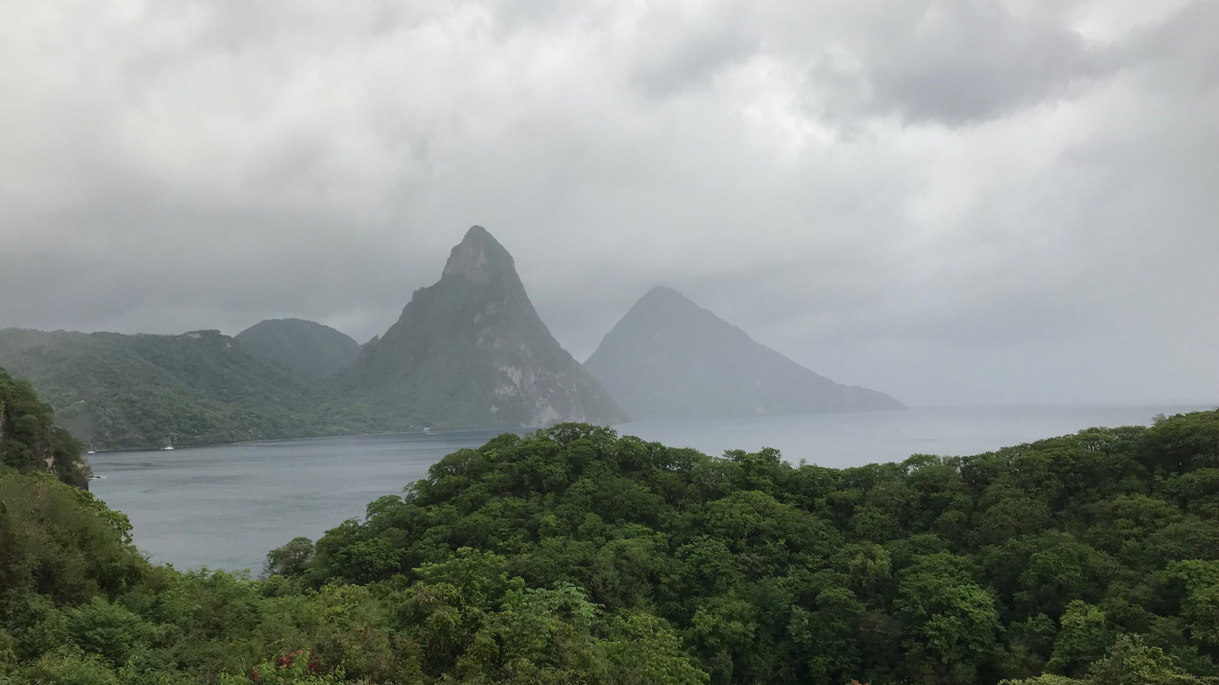 The view from our room at Jade Mountain on St. Lucia in the Caribbean. August 1, 2018.