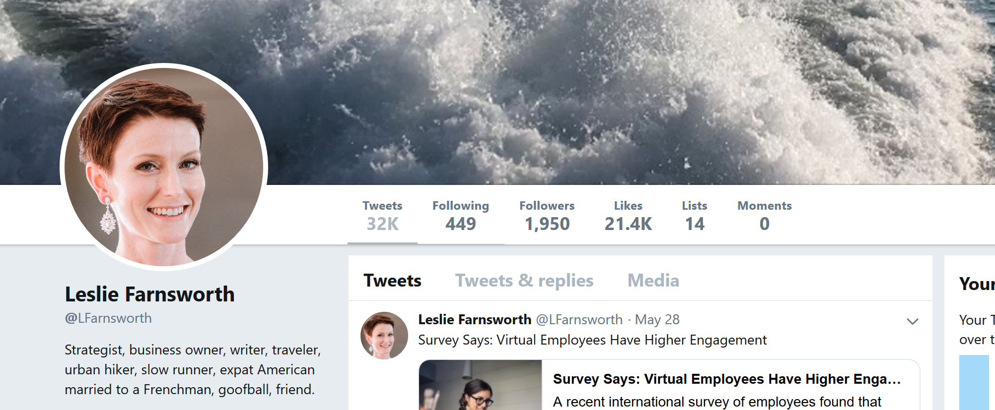 The header for my Twitter page: www.twitter.com/LFarnsworth.