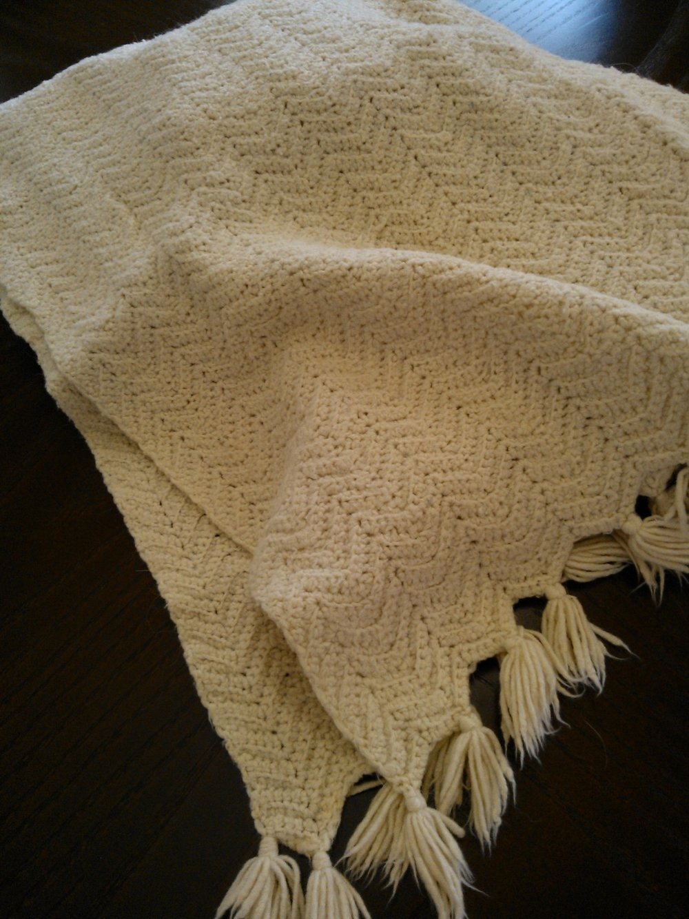 My baby blanket, crocheted by my Great Aunt Hazel. October 2012.