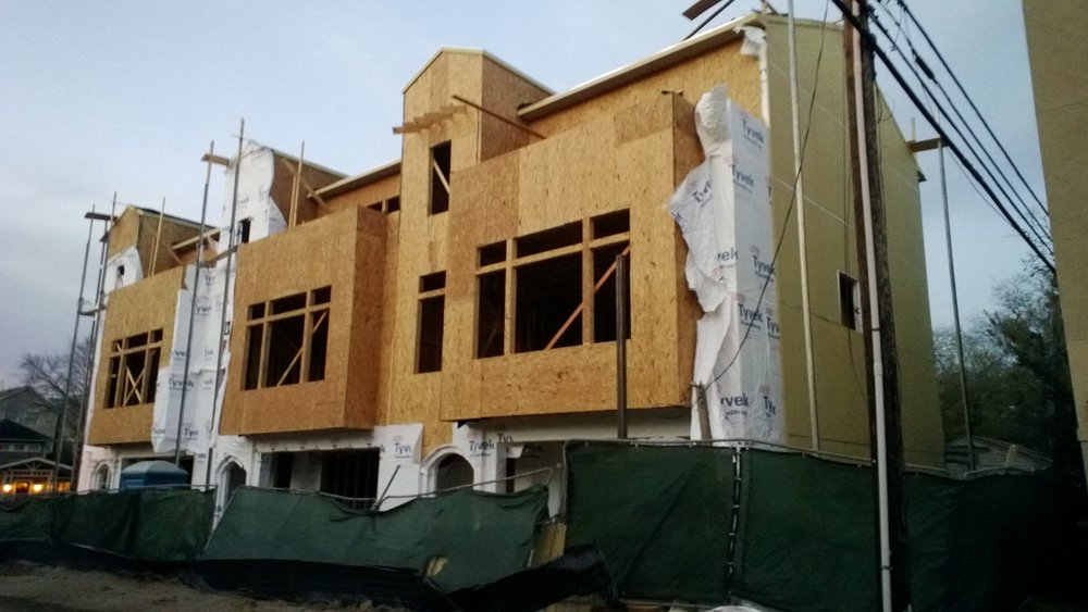 Townhouses going up in Houston's Magnolia Grove neighborhood. December 2012.