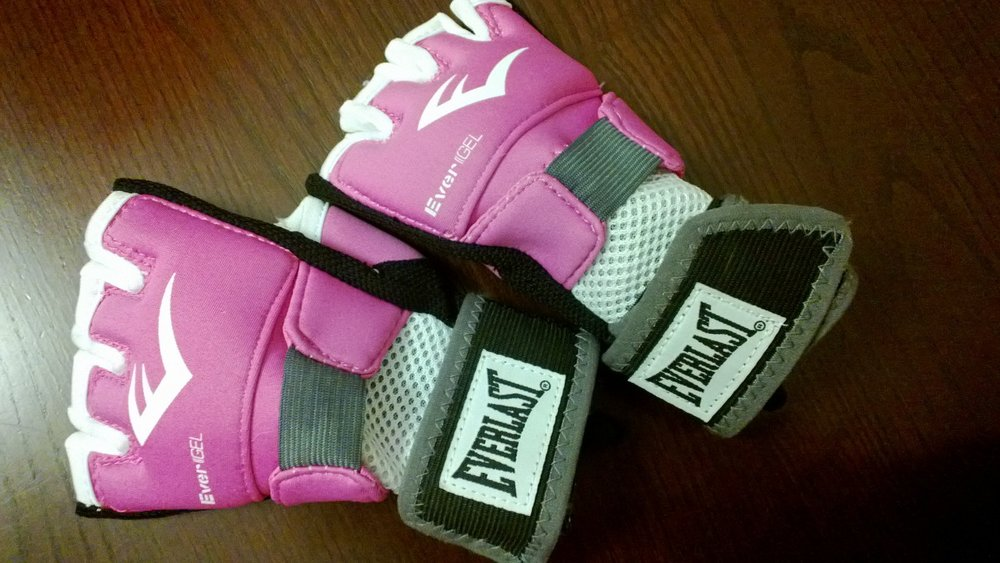Glove-style boxing hand wraps. January 2013.