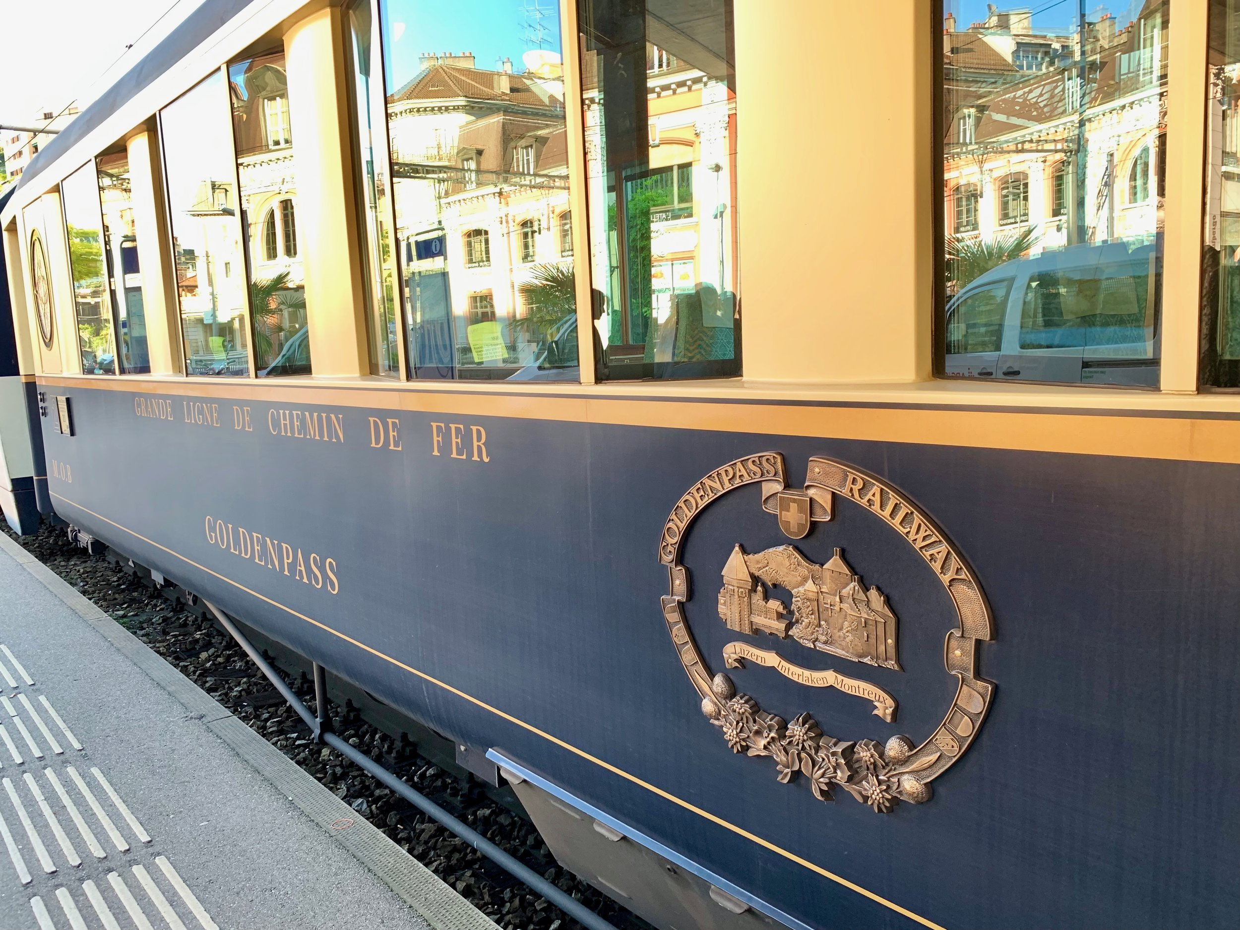 The Belle Epoque train car waiting to take us on The Chocolate Tour. Montreux, Switzerland. June 3, 2019.
