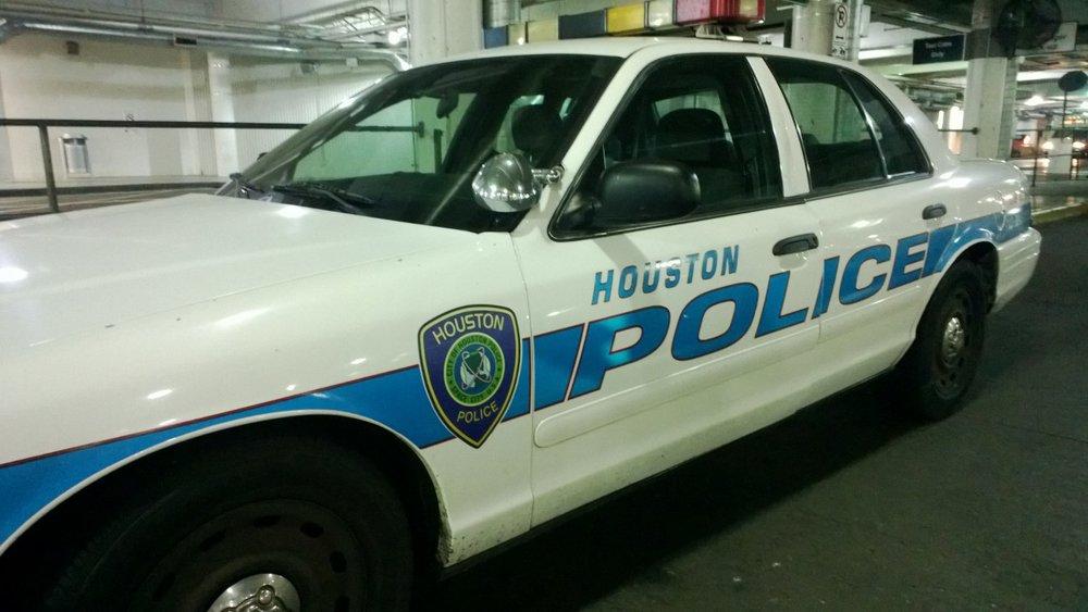 Houston Police cruiser idling at Houston Hobby Airport. July 2, 2013.