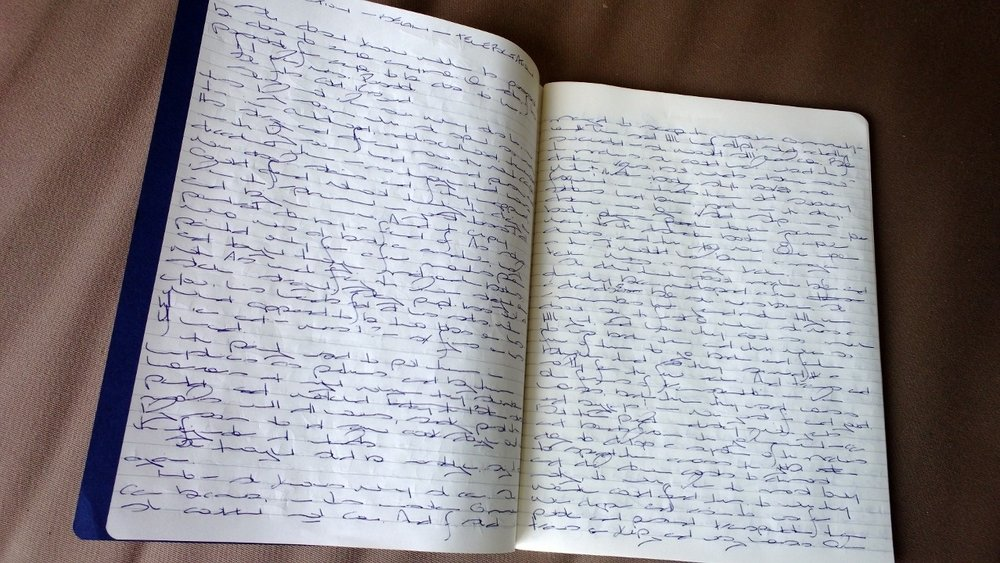 The notebook in which I kicked off my current novel manuscript, which has since moved to an electronic format.