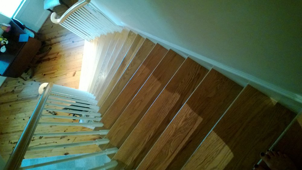 The steep, slippery stairs from my second to first floors. June 30, 2013.
