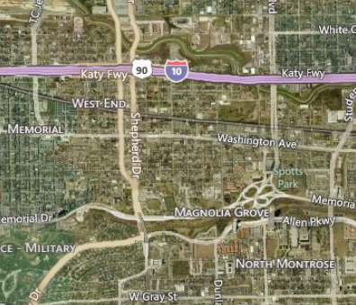 My general vicinity in Houston. Bing Map from August 26, 2013.