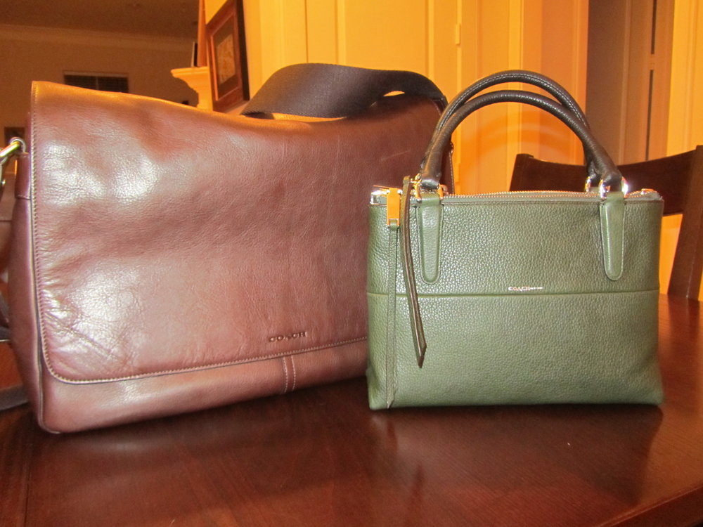 My two new Coach bags, the business tote in back and the everyday handbag in front. January 3, 2014.