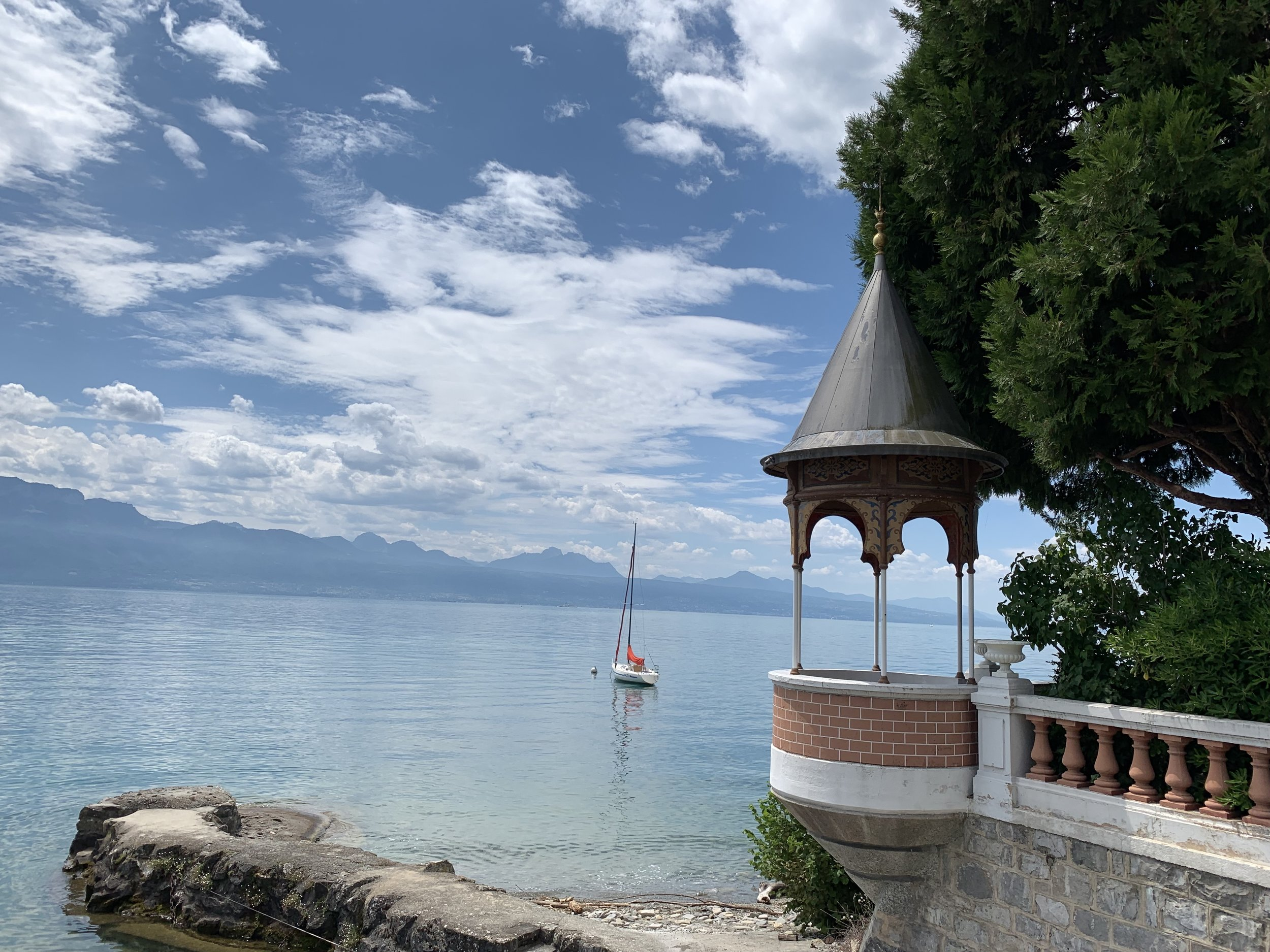 A view over Lake Geneva from Lutry, Switzerland. July 12, 2019.