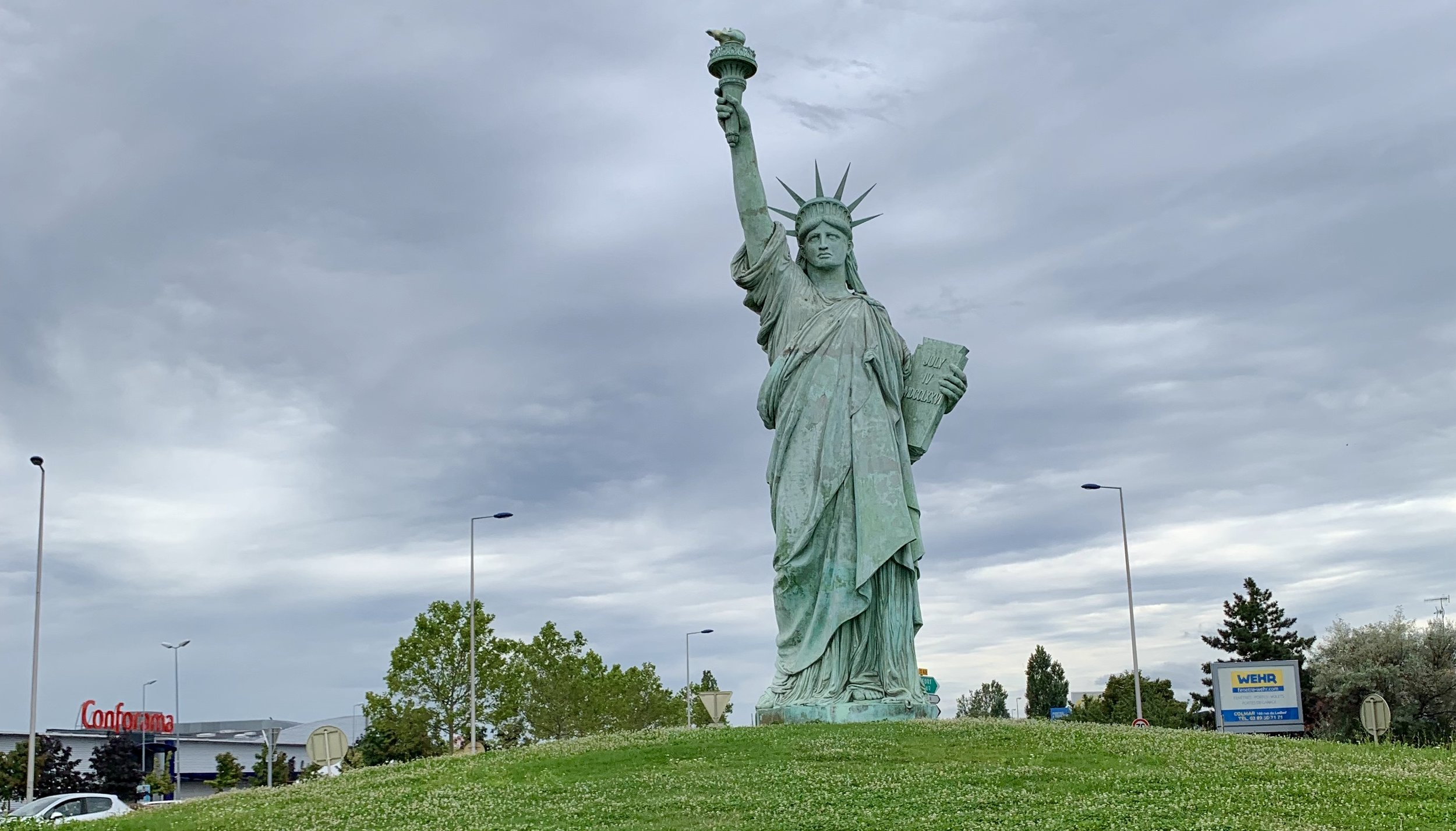 A Statue of Liberty replica on a roundabout in Colmar, France. August 10, 2019.