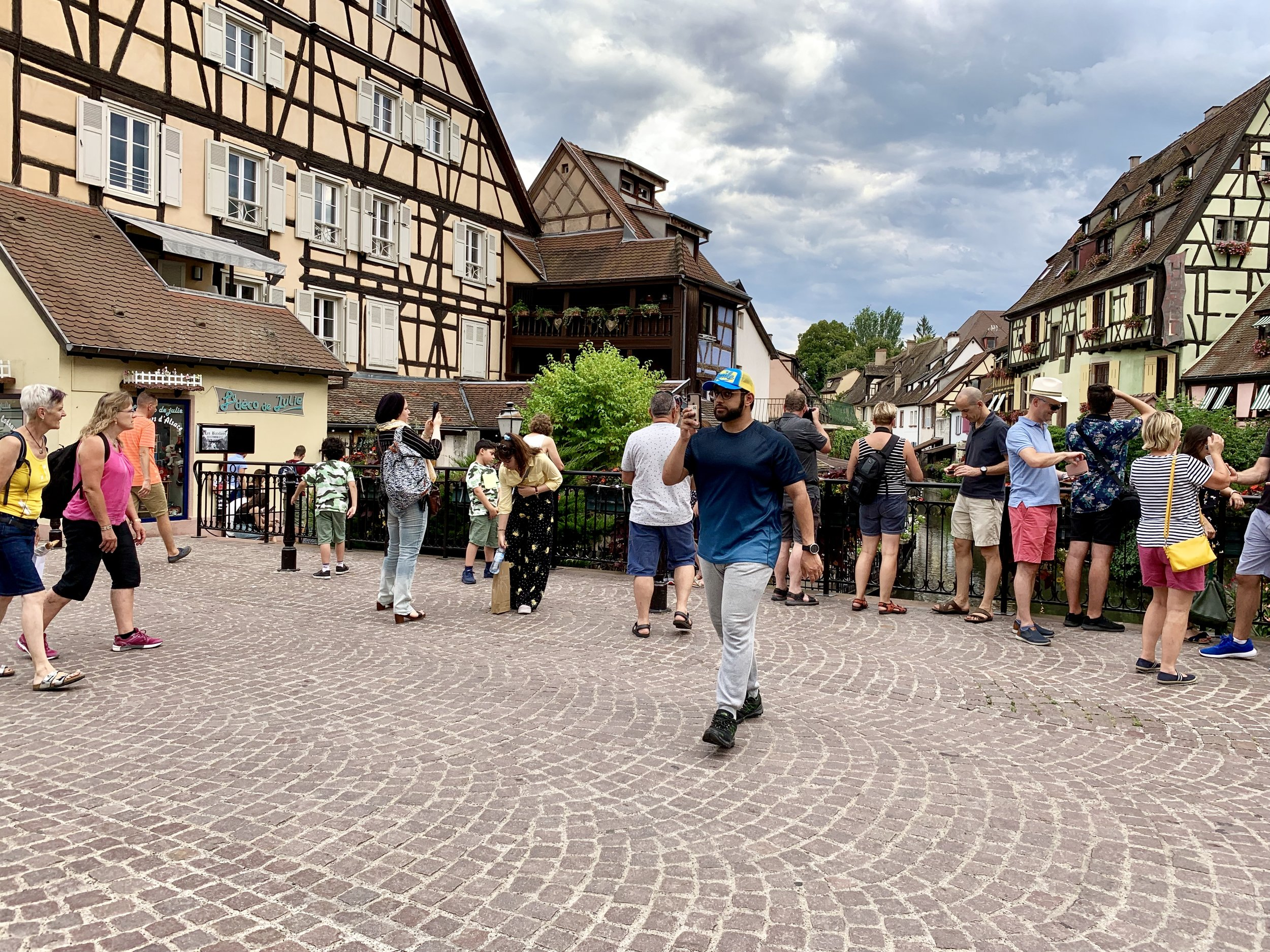 Tourists in Little Venice, Old Town Colmar. August 9, 2019.