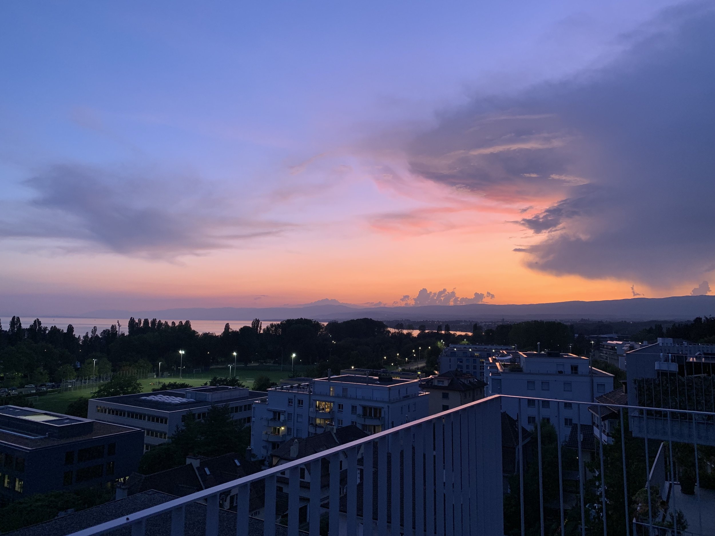 Sunset on my balcony to send out the month. August 30, 2019. Lausanne, Switzerland.