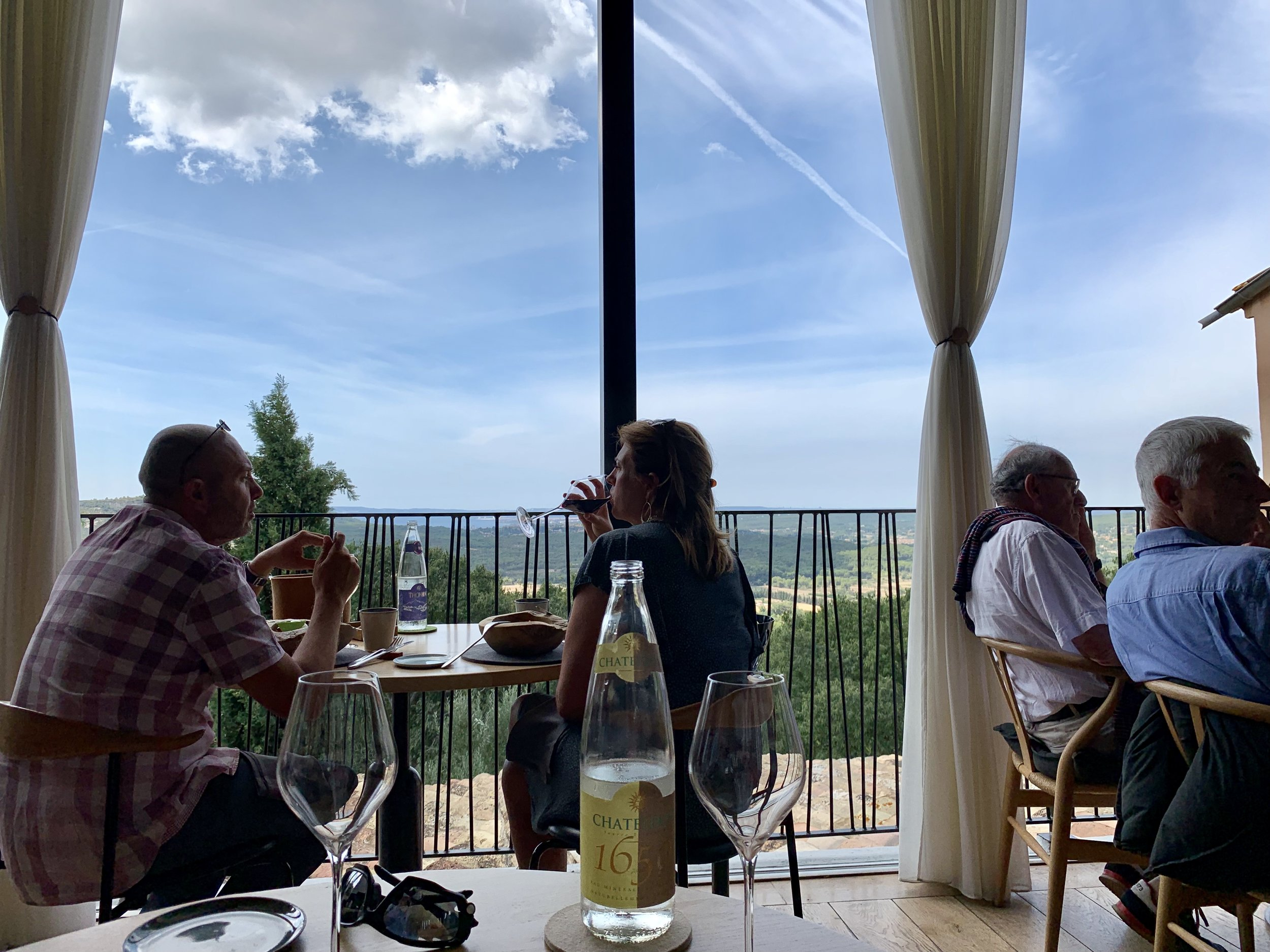 Sitting down to a decadent lunch at Dan B., the Table de Ventabren, in Ventabren, Provence, France. August 21, 2019.