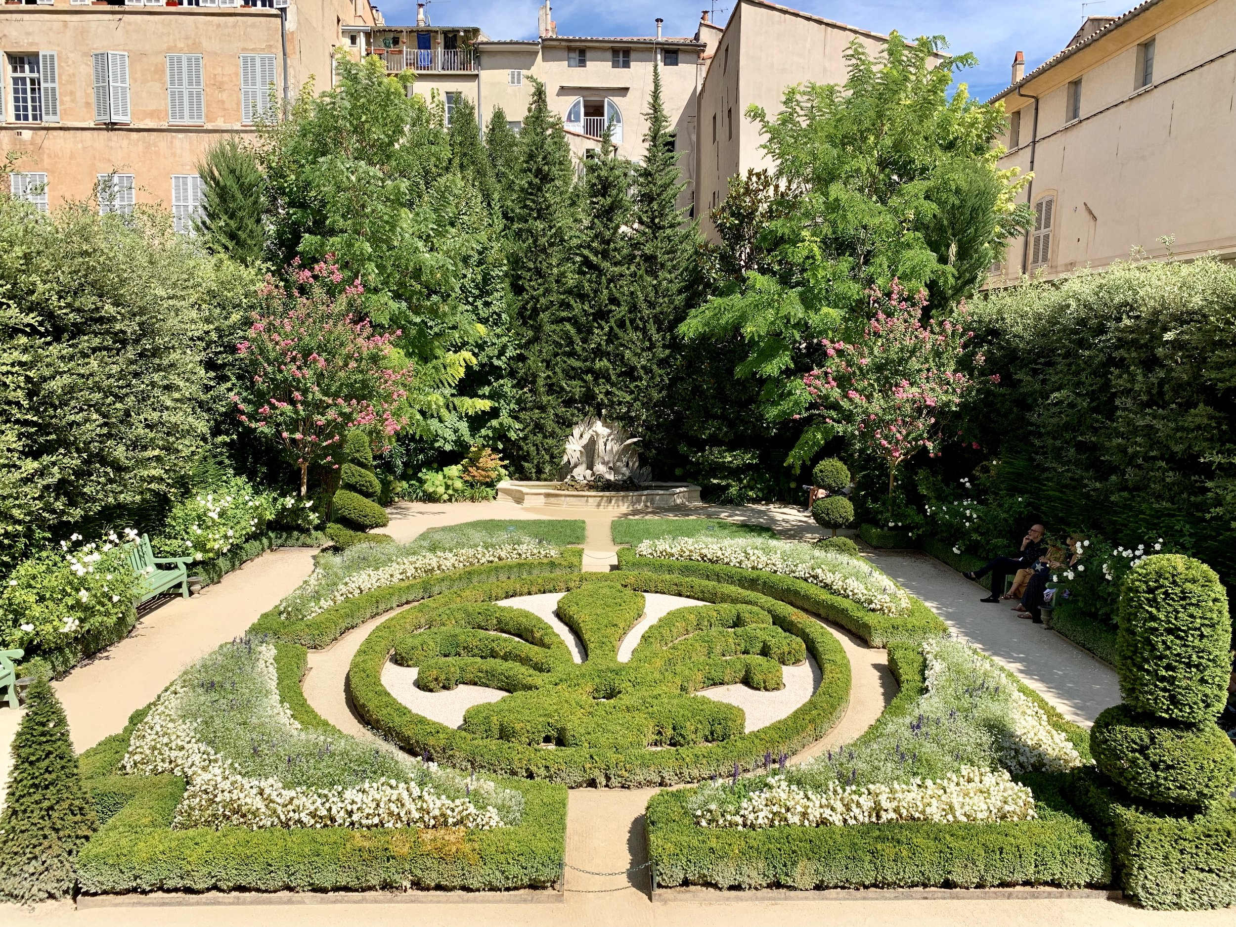 The interior gardens at the Caumont Centre d'Art in Aix-en-Provence, France. August 17, 2019.
