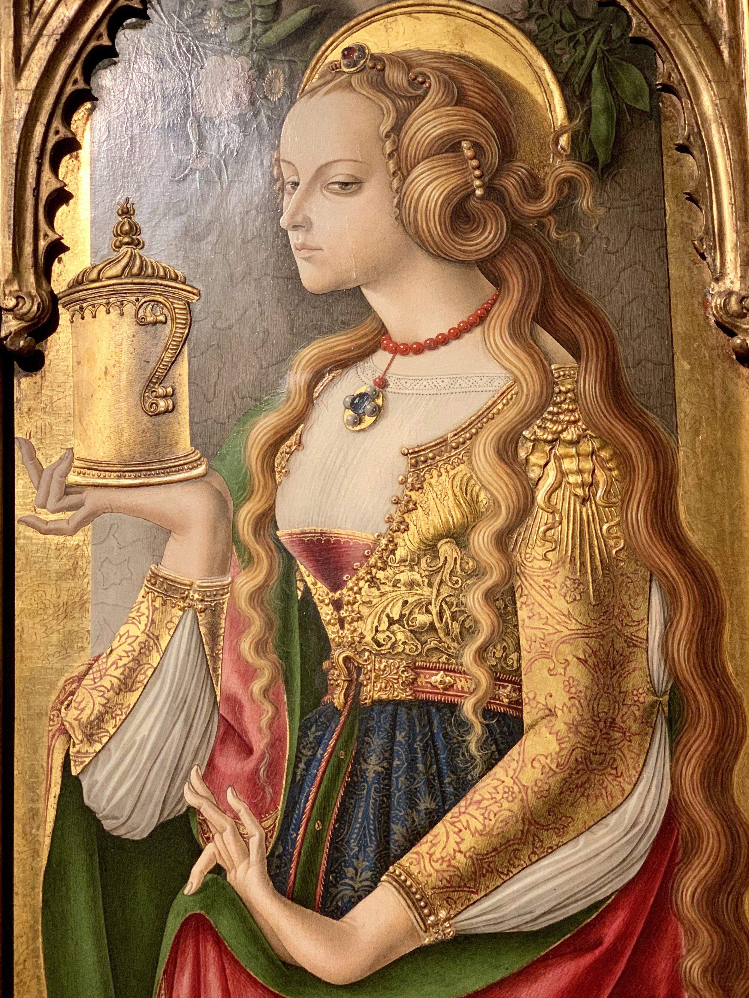 Carlo Crivelli's Mary Magdalene in the Rijksmuseum in Amsterdam.
