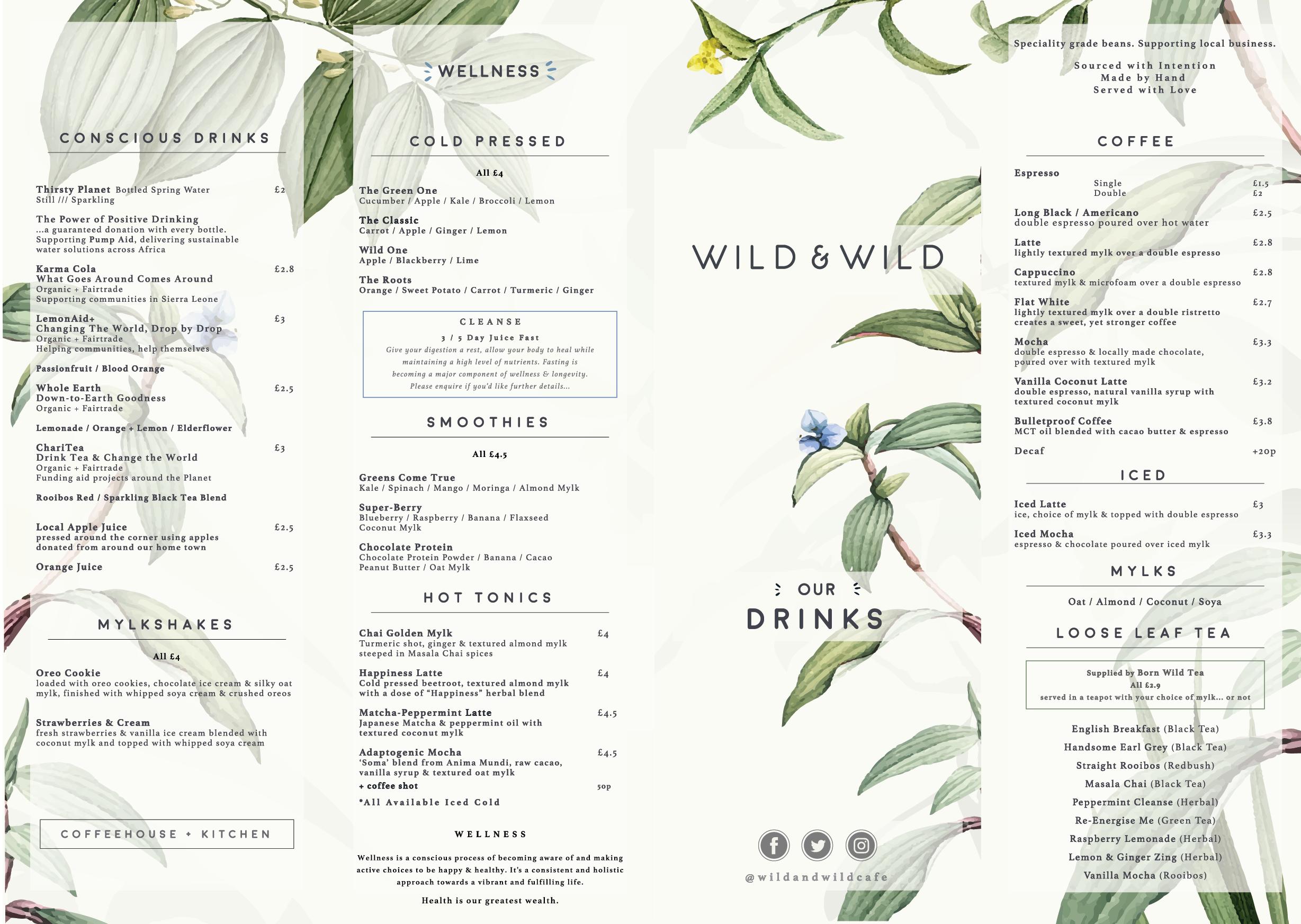 Summer Drinks Menu Wild & Wild