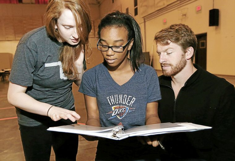 Stage Manager Apprentice, Aubrey Mason, works with TT actors.