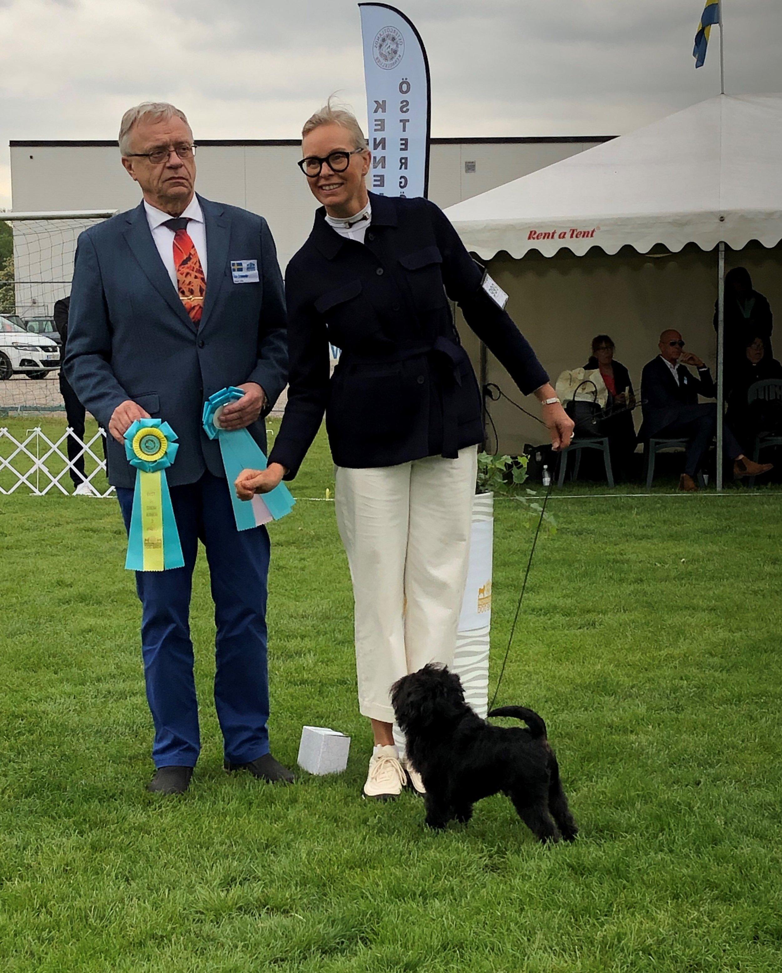 """""""Bosse"""" winning BIS3 junior with judge Åke Cronander"""