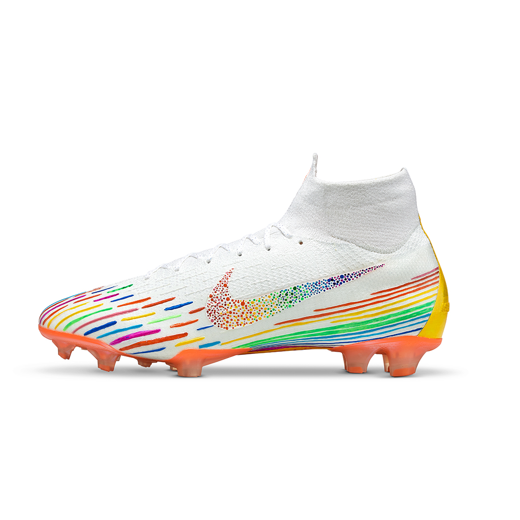 The Nike Superfly Pride - Worn at final Pride game, designed by Buhn Bee.Out for auction September 2019. All proceeds benefiting _______.