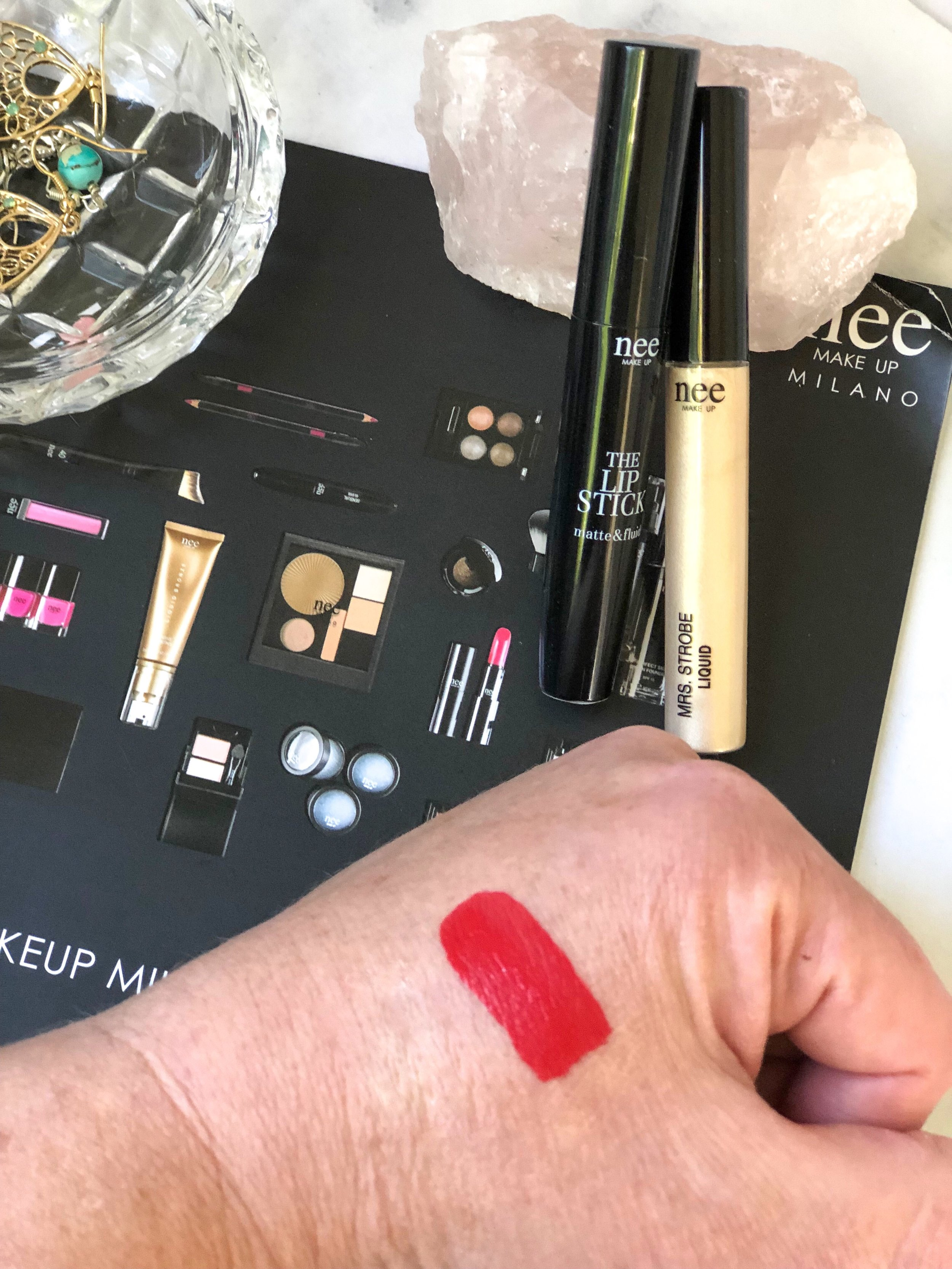 Nee makeup The Lipstick matte and Fluid Red carpet Swatch.jpg