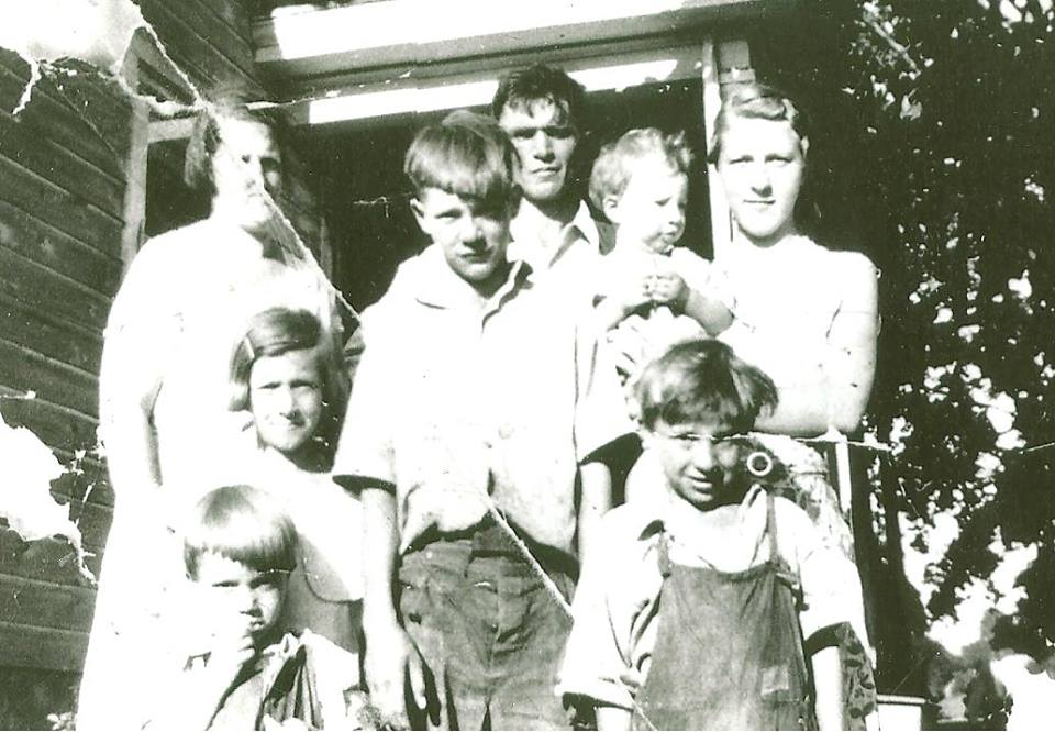 A family portrait, - Louis Boyd Gauger, Karl Gauger, Alice Boyd, Lena Alice, Harvey Ernest, Alfred David, and Eugene Boyd Gauger - August 20th, 1934
