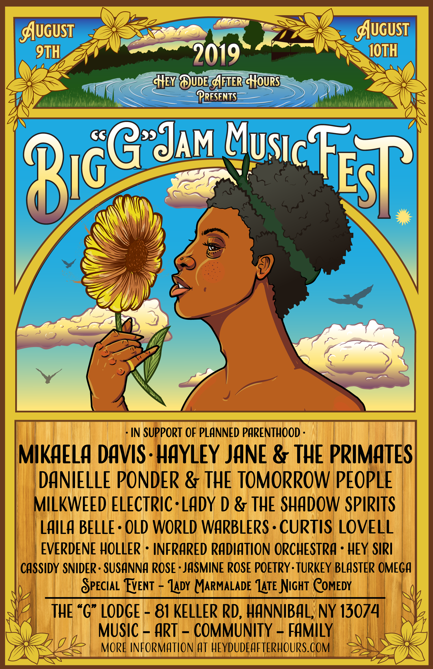 "Big ""G"" Jam - August 9th & 10th, 2019In support of Planned Parenthood of Central & Western New York.Family friendly weekend with live music, art, and workshops. Children under the age of 18 must be accompanied by a parent or guardian.Pets welcome w/ furry friend ticket $20FREE Tent campingLimited RV spaces availableBYOB. NO Glass. NO Fireworks. NO Illegal Substances. NO Underage Drinking"