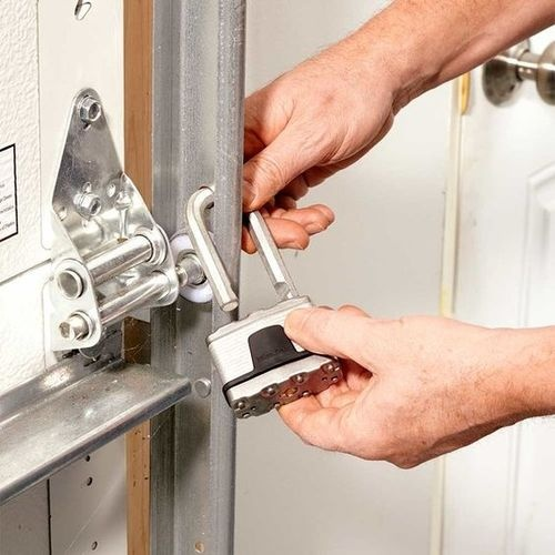 If your garage door opener is missing, one option is to lock it manually.
