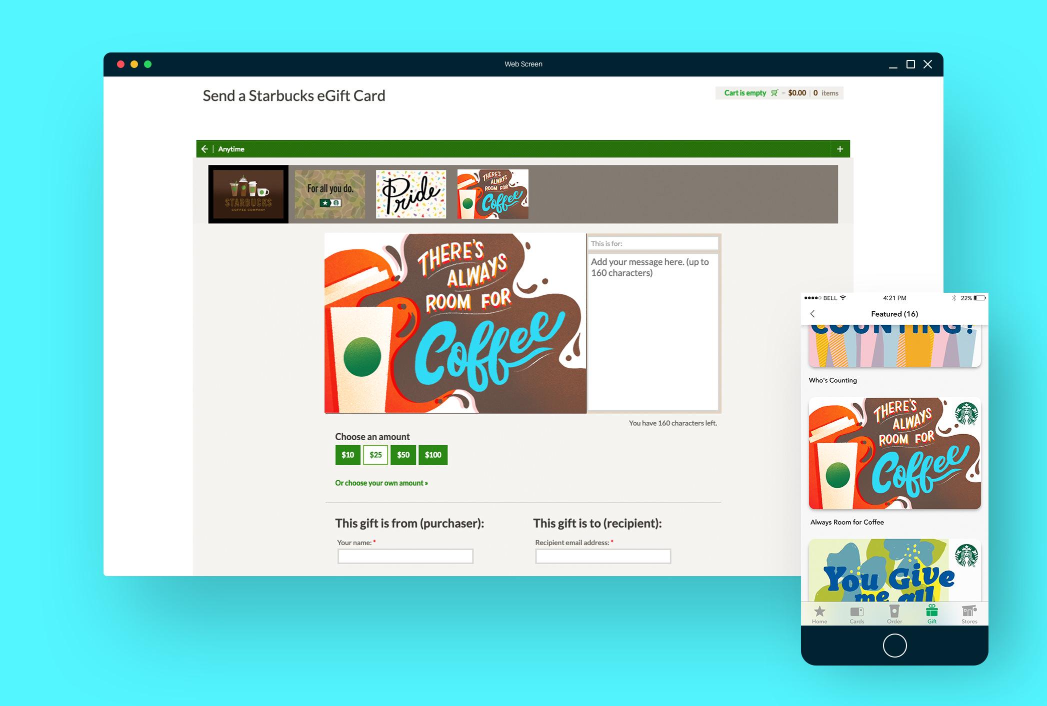 Starbucks Gift Card Belinda Kou Lettering Design