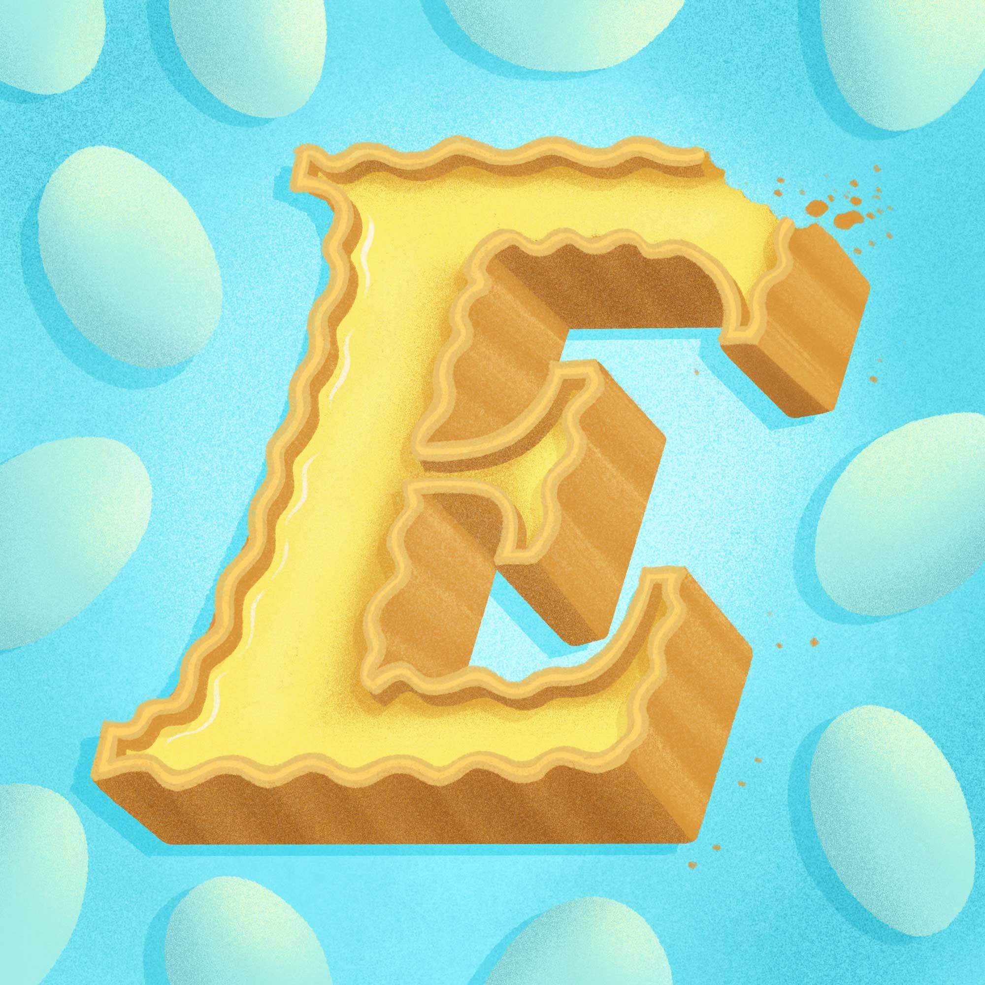 36 Days of Sweet Type, a hand lettered and illustrated dessert and food alphabet. Letter E illustration for egg tart. | Belinda Kou Lettering, Illustration & Design | Chicago artist