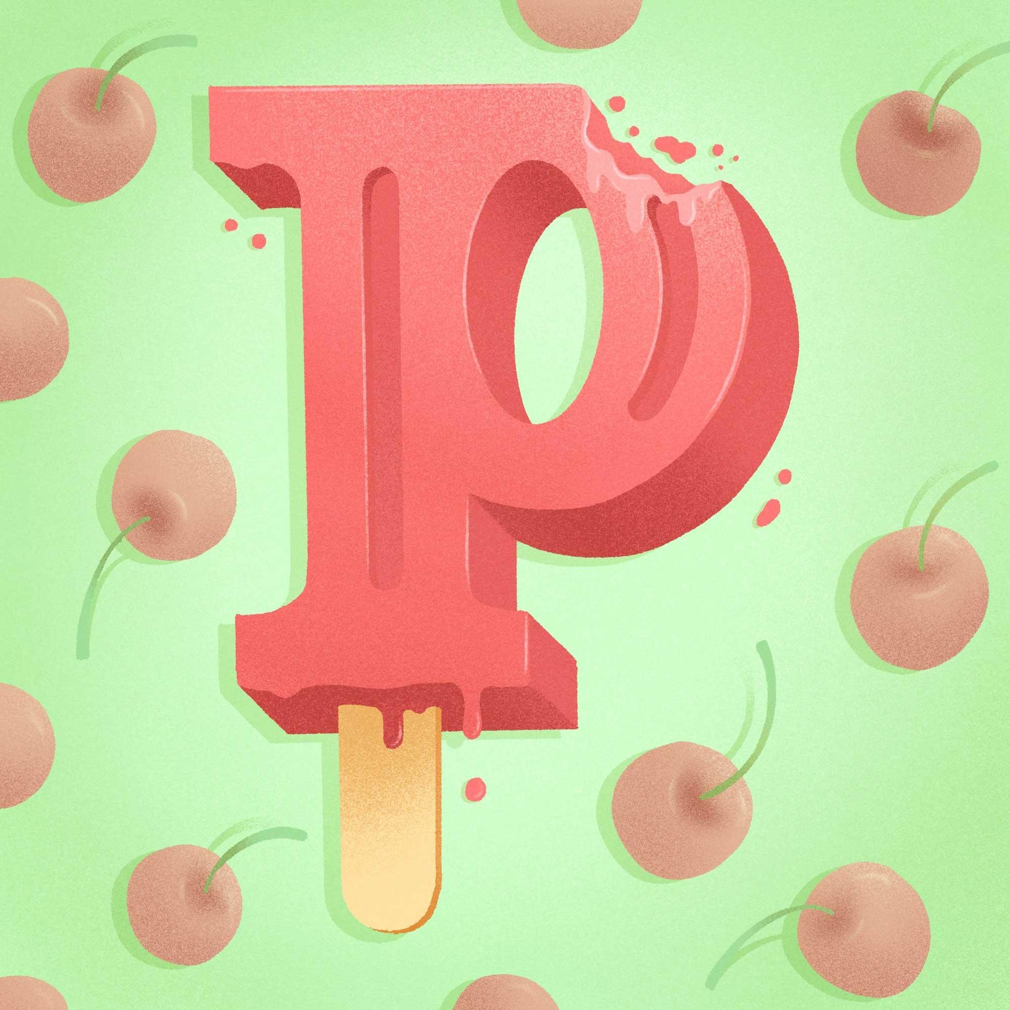 36 Days of Sweet Type, a hand lettered and illustrated dessert and food alphabet. Letter P illustration for popsicle | Belinda Kou Lettering, Illustration & Design | Chicago artist
