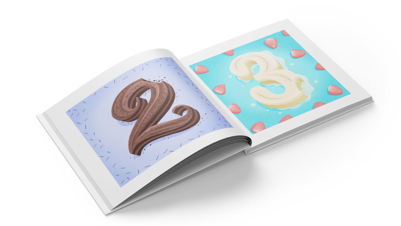 36 Days of Sweet Type, a hand lettered and illustrated dessert and food alphabet. Book mockup. | Belinda Kou Lettering, Illustration & Design | Chicago artist