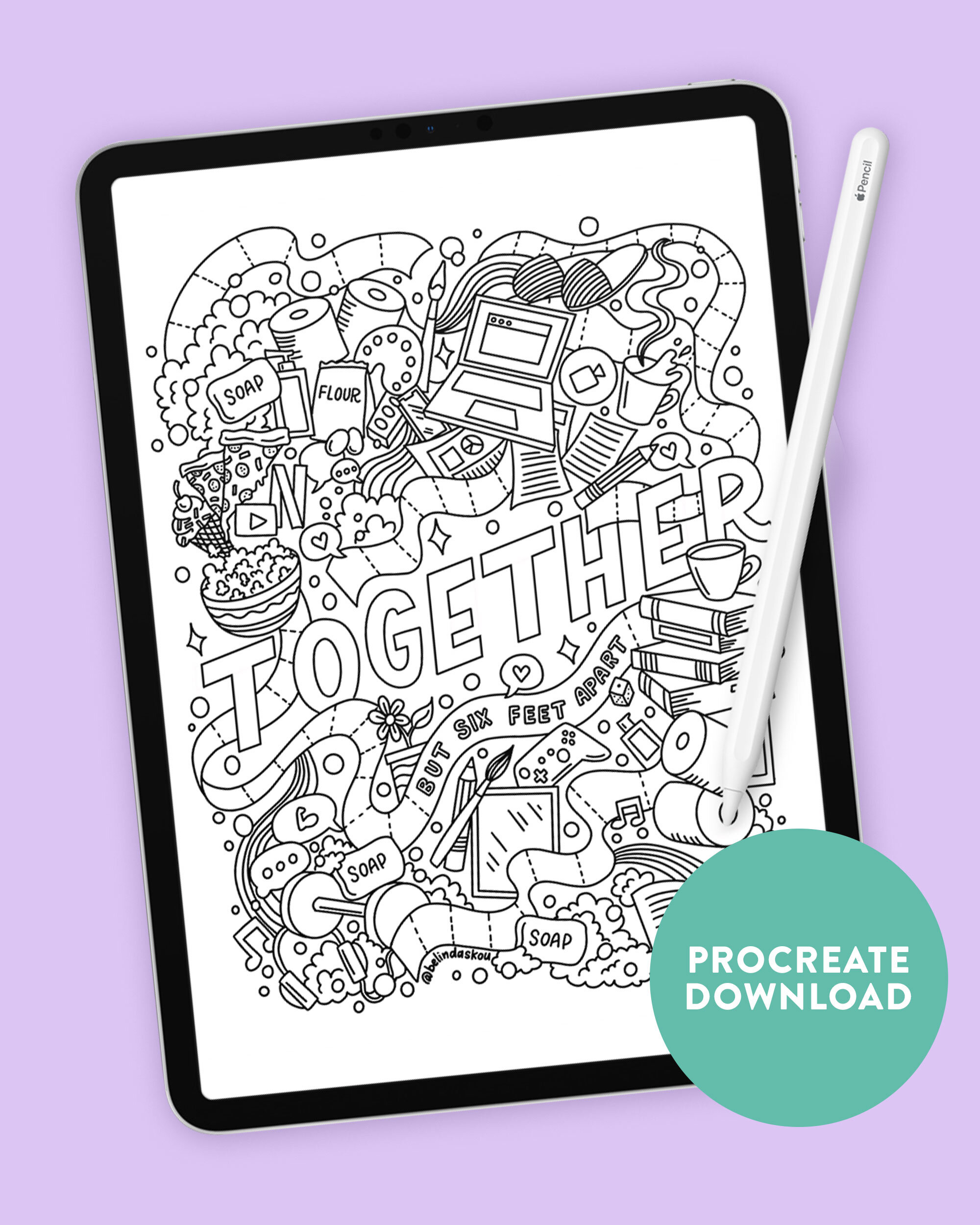 Free social distancing coloring page — Belinda  Lettering Artist