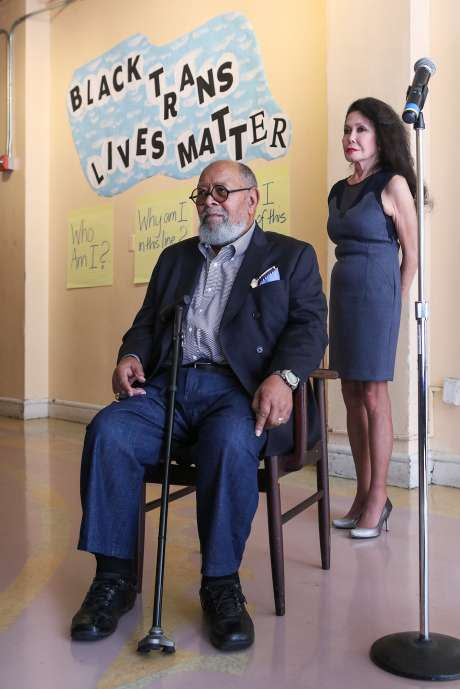 Photo: Gabrielle Lurie, Special To The Chronicle  Reverend Cecil Williams and Jan Mirikitani listen as clients discuss the positive impact that Glide Memorial Church has had on their lives, in San Francisco, California on Thursday, September 17, 2015. Jan Mirikitani will be receiving a Community Leadership Award from the San Francisco Foundation at Bay Area Bold.