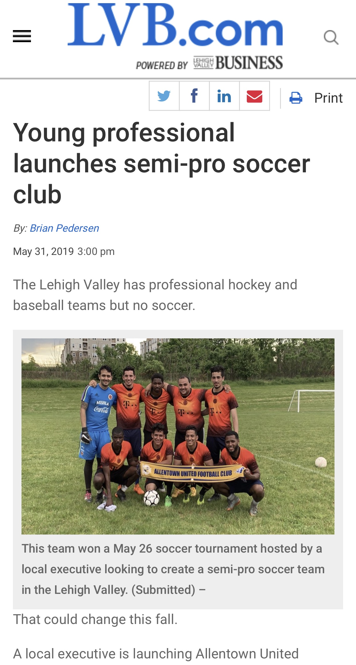 LVB.com: Young professional launches semi-pro soccer club