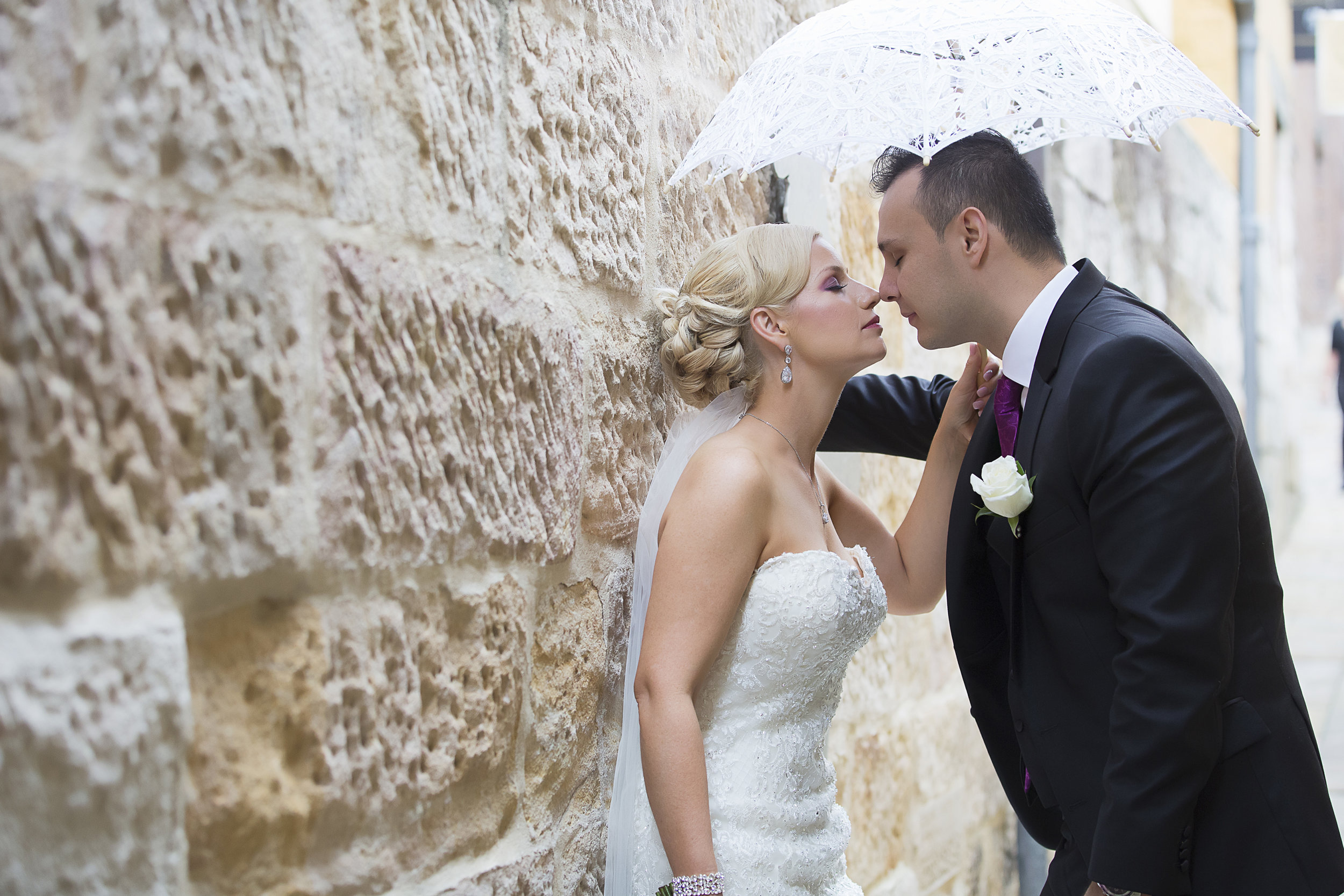 Beautiful couple with umbrella
