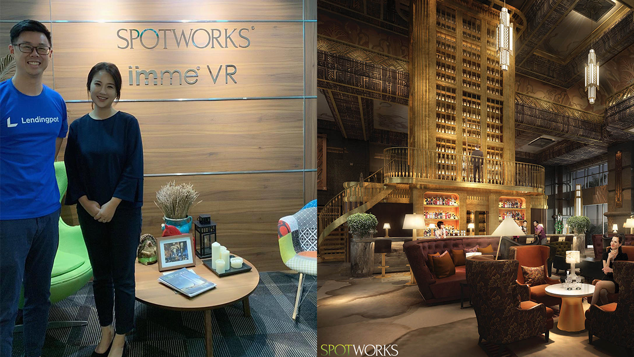 Left: Eric Koh of  Lendingpot.sg  with Sophie Wang, Director of SpotWorks Pte Ltd. Right: Architectural 3D Rendering of Park View Square, Singapore:  SpotWorks