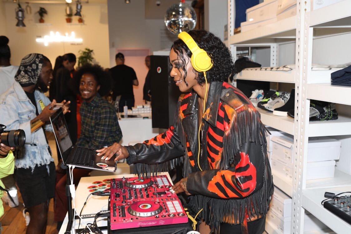 DJ Selekta Sexxx wearing Jeantrix Custom Leather Jacket