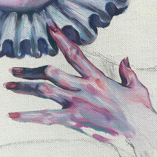 Rough ruff? 🎭🎨 Hand work in progress~  #oilpainting #art #artistsoninstagram #oilpaintings #hand #wip #painting #portrait #portraitpainting #oilpaint #handpainting #elizabethan #aesthetic #artistsofinstagram #femaleartist #portraitpainter #gallery #handpaintings #artist #collection