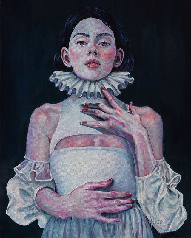 'Who's a Heretic now?' 🌑 • Oil on board ~ #artist #oilpainting #art #artistsoninstagram ##artistsofinstagram #oilpaint #popsurrealism #surrealism #fineart #elizabethan #popsurrealist #dreamyart #contemporaryart #illustration #gallery #popsurrealart #heretic #femaleartist