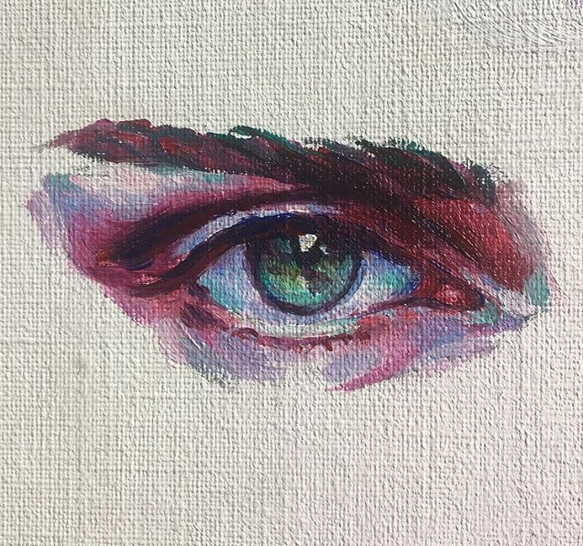 Eye study #2! 👀 • Currently love painting watching the first signs of Autumn appear 🍂☕️🍁 #artist #oilpainting #eyepainting #eyestudy #painting #popsurrealism #surrealism #art #artistsofinstagram #artistsoninstagram #paintings #oilonboard #minipainting #study #oilpaint #popsurrealist #autumn #eyepaintings