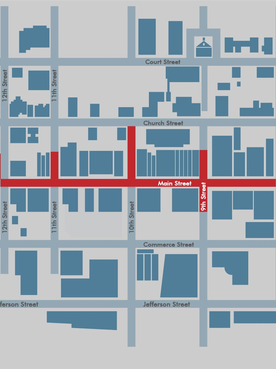 Location - Construction will impact Main Street between 8th and 12th Streets, as well as certain side streets between Church and Commerce Streets. Some utility work will occur on all of these streets, but streetscape improvements will only occur on Main Street and on 10th Street between Church and Main Streets.