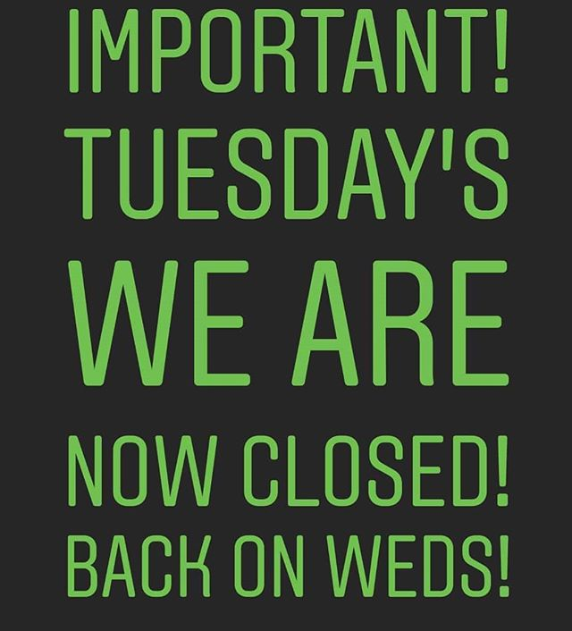 Hey guys, apparently even the two peas guys need a break! So we will now be closed all day on Tuesdays for eat in and delivery.