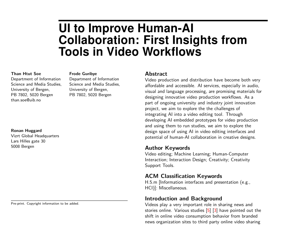 UI to Improve Human-AI Collaboration: First Insights from Tools in Video Workflows   Authors: Than Htut Soe and Frode Guribye