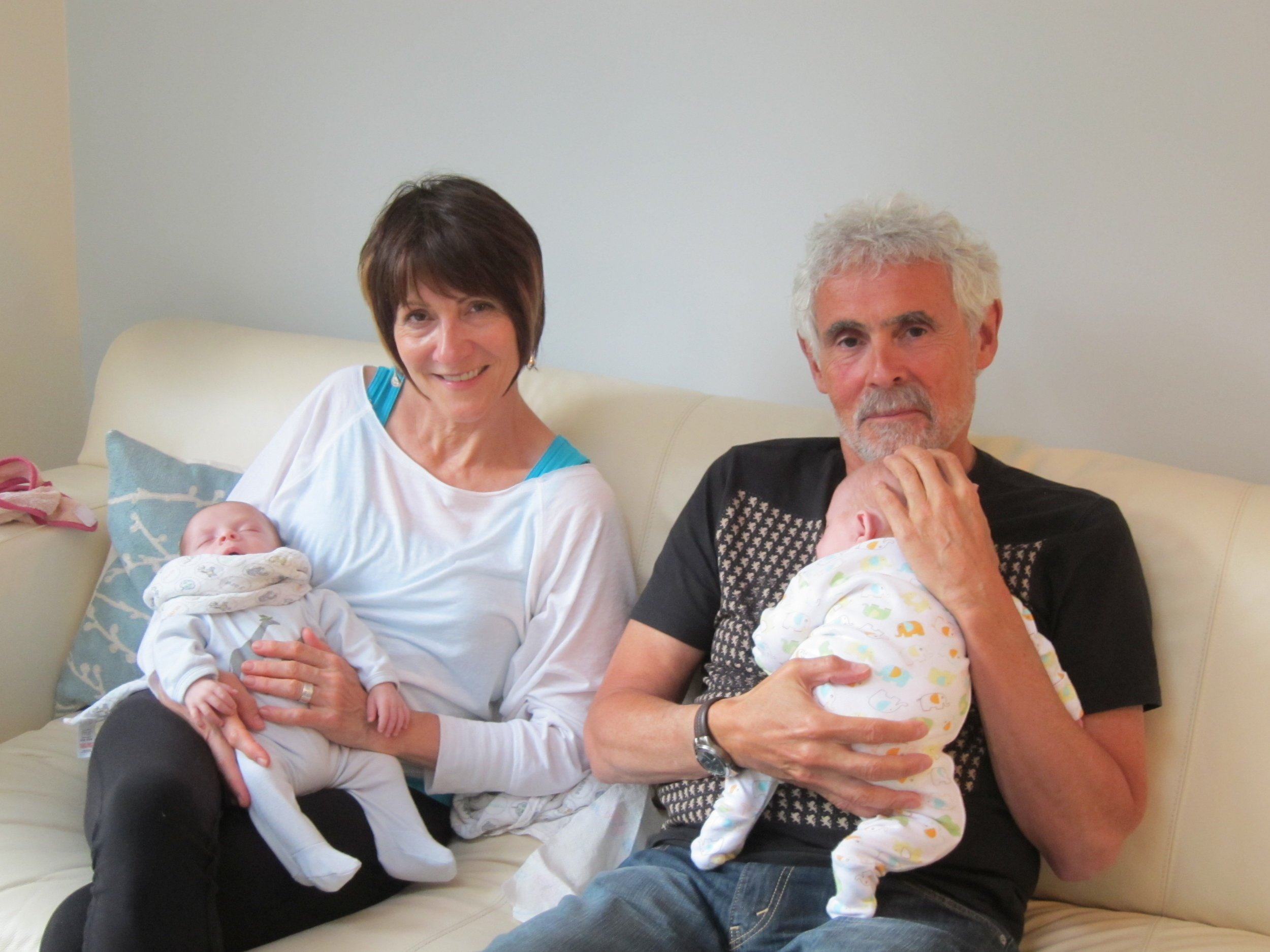 Bill & I holding Dylan & Poppy